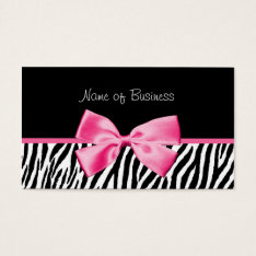 Trendy Black And White Zebra Print Pink Ribbon Business Card at Zazzle