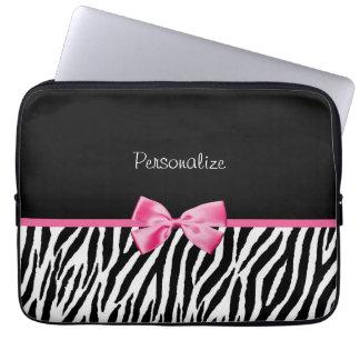 Trendy Black And White Zebra Print Pink Ribbon Computer Sleeve