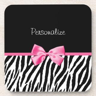 Trendy Black And White Zebra Print Pink Ribbon Beverage Coasters