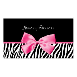 Trendy Black And White Zebra Print Pink Ribbon Double-Sided Standard Business Cards (Pack Of 100)