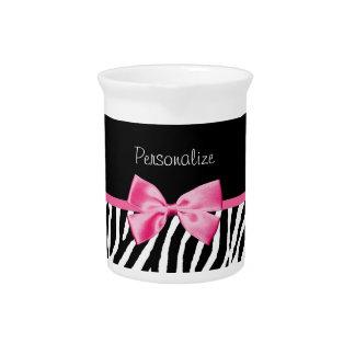 Trendy Black And White Zebra Print Pink Ribbon Drink Pitcher