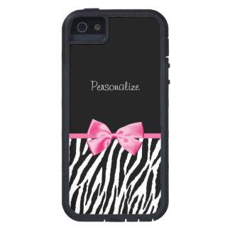 Trendy Black And White Zebra Print Pink Ribbon iPhone SE/5/5s Case