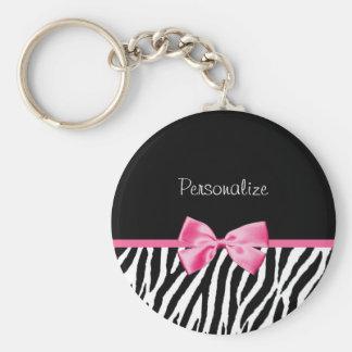 Trendy Black And White Zebra Print Pink Ribbon Keychain