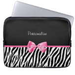 Trendy Black And White Zebra Print Pink Ribbon Laptop Computer Sleeve