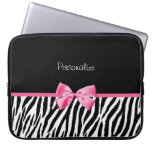 Trendy Black And White Zebra Print Pink Ribbon Laptop Computer Sleeves