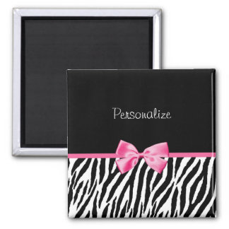 Trendy Black And White Zebra Print Pink Ribbon Magnet