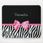 Trendy Black And White Zebra Print Pink Ribbon Mouse Pad