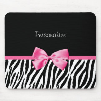 Trendy Black And White Zebra Print Pink Ribbon Mouse Pad