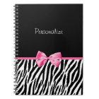 Trendy Black And White Zebra Print Pink Ribbon Notebook