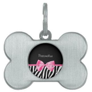 Trendy Black And White Zebra Print Pink Ribbon Pet ID Tag