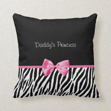 Trendy Black And White Zebra Print Pink Ribbon Throw Pillows