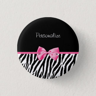 Trendy Black And White Zebra Print Pink Ribbon Pinback Button