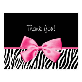 Trendy Black And White Zebra Print Pink Ribbon Postcard