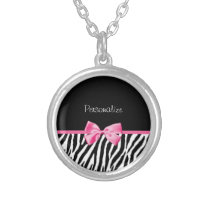Trendy Black And White Zebra Print Pink Ribbon Silver Plated Necklace