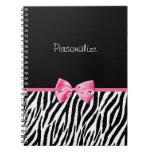Trendy Black And White Zebra Print Pink Ribbon Spiral Note Book