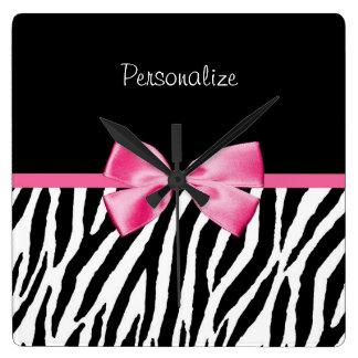 Trendy Black And White Zebra Print Pink Ribbon Square Wall Clock