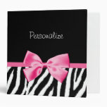 Trendy Black And White Zebra Print Pink Ribbon Vinyl Binders