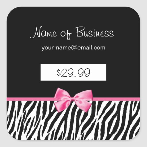 Trendy Black And White Zebra Print Price Tag Sticker