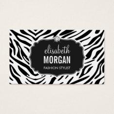 Trendy Black And White Zebra Print Shiny Diamond Business Card at Zazzle