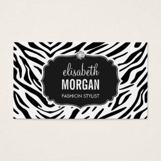 Trendy Black and White Zebra Print Shiny Diamond Business Card