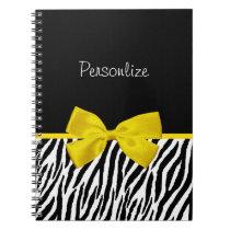 Trendy Black And White Zebra Print Yellow Ribbon Notebook