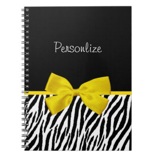 Trendy Black And White Zebra Print Yellow Ribbon Notebook