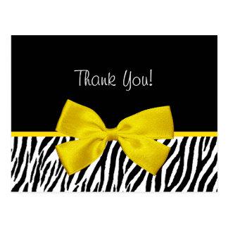 Trendy Black And White Zebra Print Yellow Ribbon Postcard