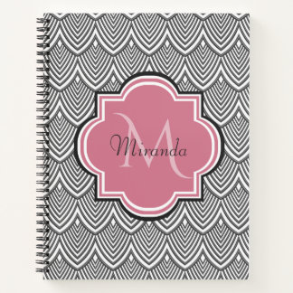 Trendy Black Arched Scallops Pink Monogram Name Notebook