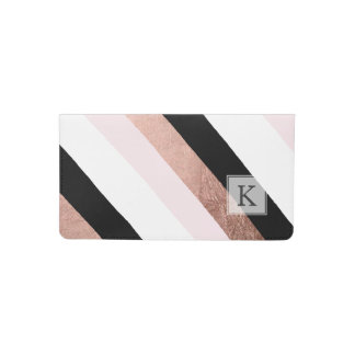Trendy black blush pink rose gold geometric stripe checkbook cover