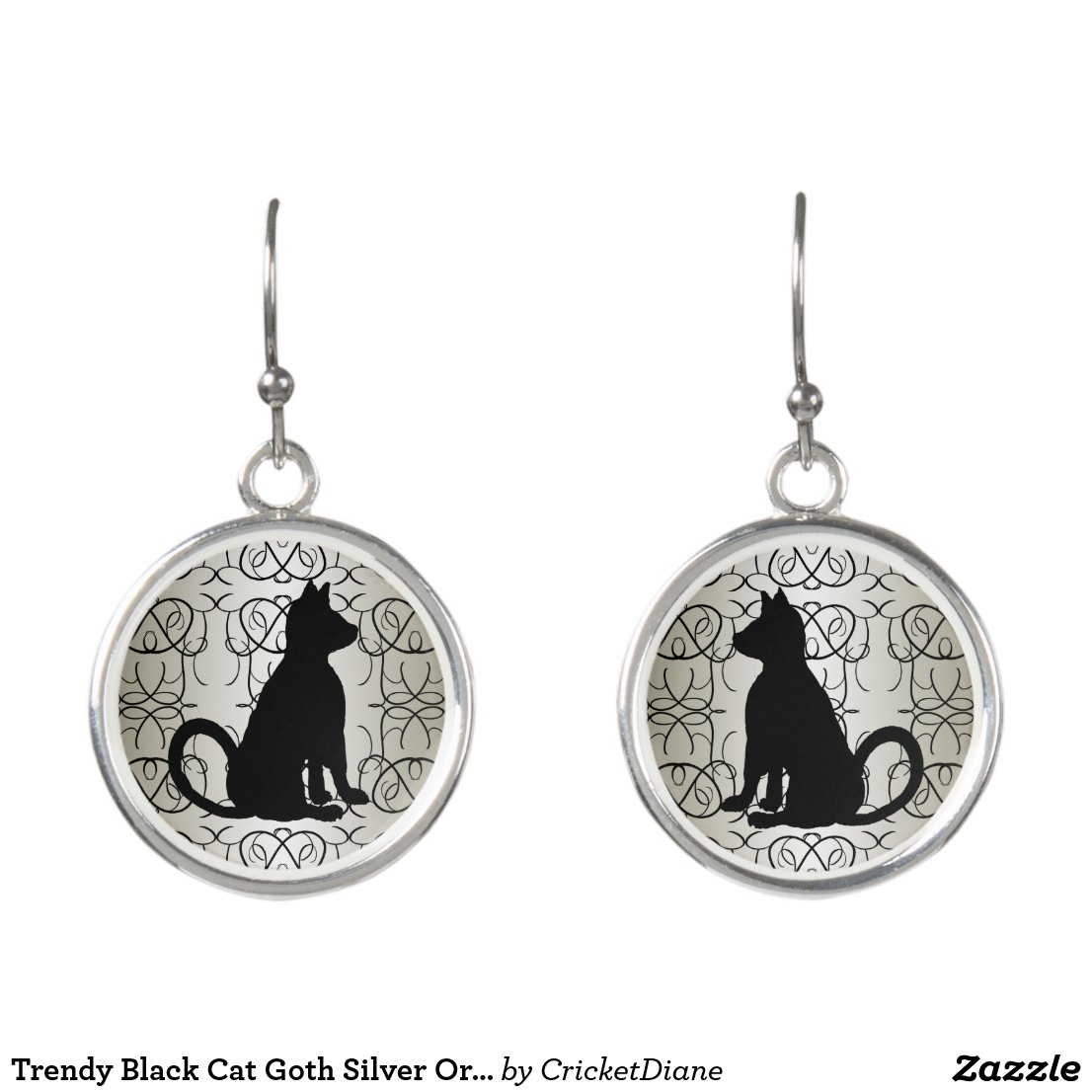 Trendy Black Cat Goth Silver Ornate CricketDiane Earrings