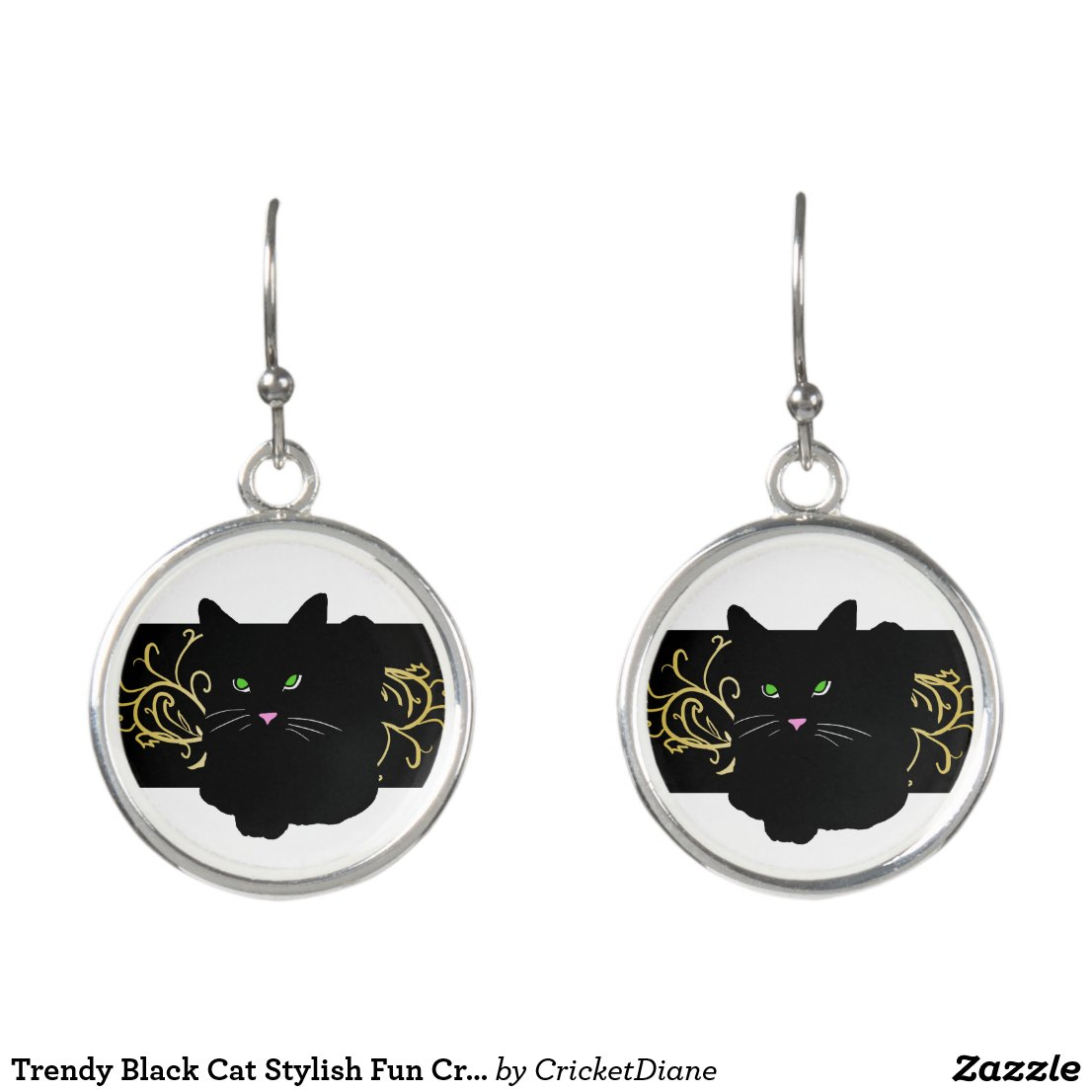 Trendy Black Cat Stylish Fun CricketDiane Earrings