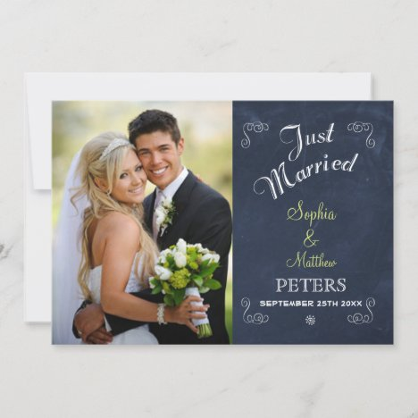 Trendy Black Chalkboard | Photo | Just Married Announcement