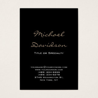 Trendy Black Classical Script Chubby Business Card