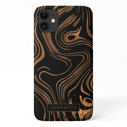 Trendy Black Copper Foil Marble Monogram iPhone 11 Case