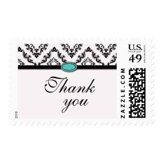 Trendy black damask aqua jewel thank you stamps