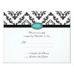 Trendy black damask aqua jewel wedding RSVP card Custom Announcements