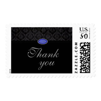 Trendy black damask blue jewel thank you stamps