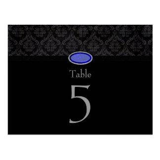 Trendy black damask blue jewel wedding table card