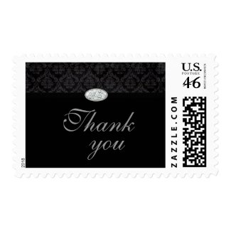 Trendy black damask diamond thank you stamps stamp