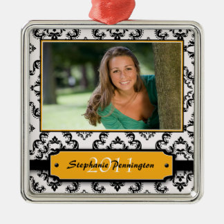 Trendy black damask graduation photo ornament