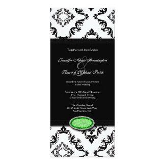 "Trendy black damask green jewel wedding invitation 4"" x 9.25"" invitation card"