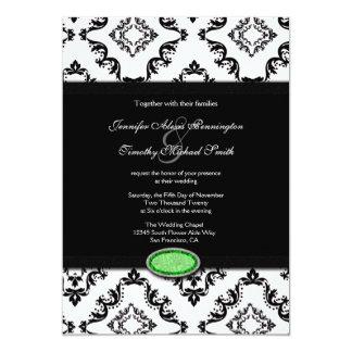 "Trendy black damask green jewel wedding invitation 5"" x 7"" invitation card"