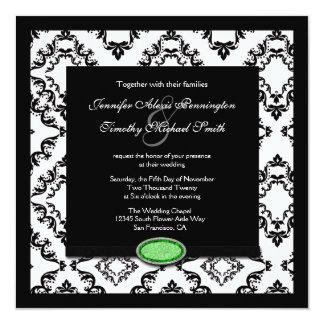 "Trendy black damask green jewel wedding invitation 5.25"" square invitation card"