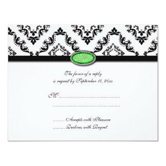 "Trendy black damask green jewel wedding RSVP card 4.25"" X 5.5"" Invitation Card"