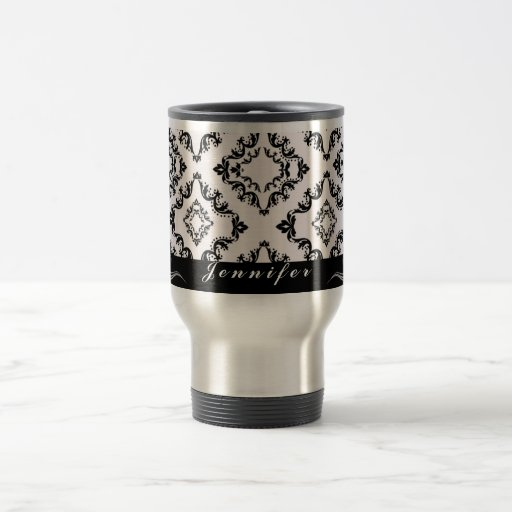 Trendy black damask personalized travel coffee mug