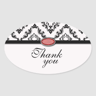 Trendy black damask ruby jewel thank you stickers