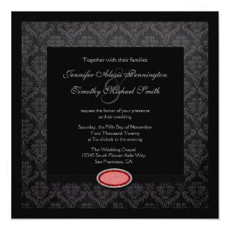 "Trendy black damask ruby jewel wedding invitation 5.25"" square invitation card"