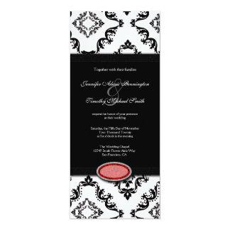"Trendy black damask ruby jewel wedding invitation 4"" x 9.25"" invitation card"