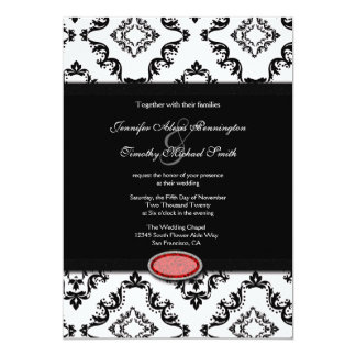 "Trendy black damask ruby jewel wedding invitation 5"" x 7"" invitation card"