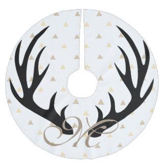 Trendy Black Deer Antlers Gold Confetti Monogram Brushed Polyester Tree Skirt